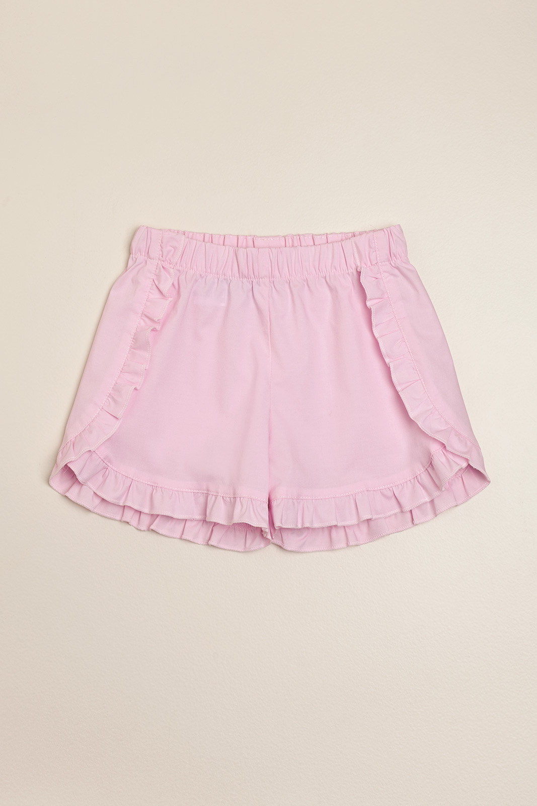 Short poplin con volados rosa