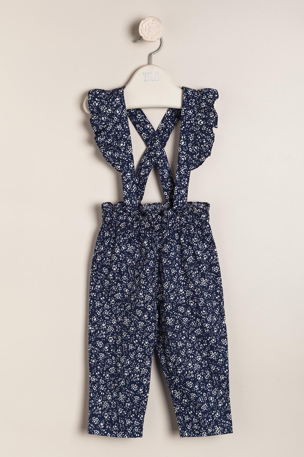 Pantalon con tiradores bianco e blu