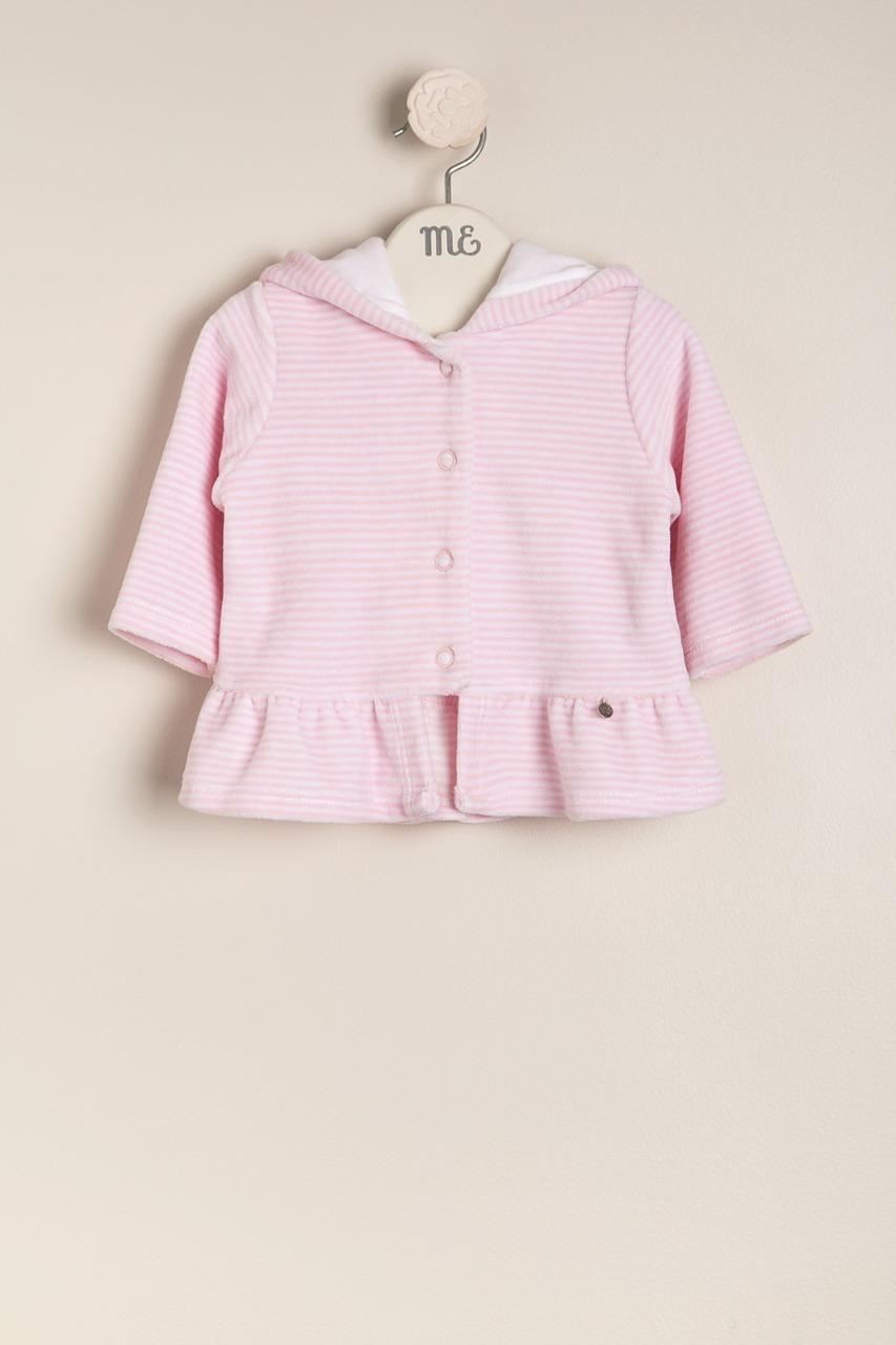 Campera de plush rayado rosa