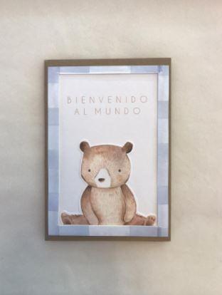 Tarjeta bienvenido al mundo oso