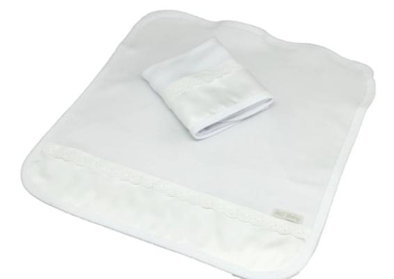 Kit de 2 babitas suedine bord. ingles blanco