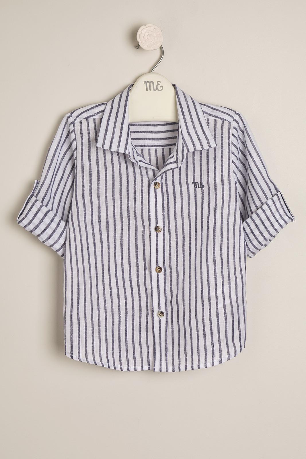 Camisa lino Alain b/gris