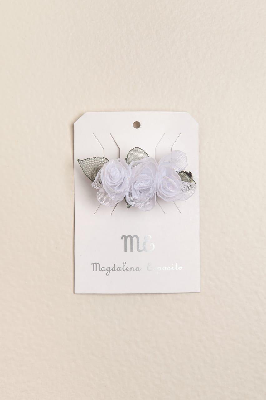 Hebilla francesa flores blancas