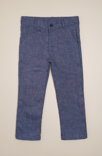 Pantalon lino azul