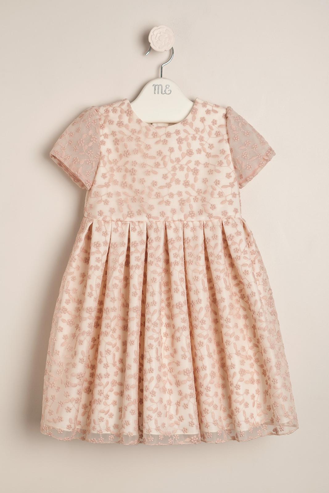 Vestido organza fleurs rosa