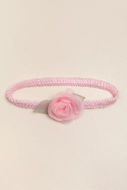 Vincha elastizada con 1 flor rosa