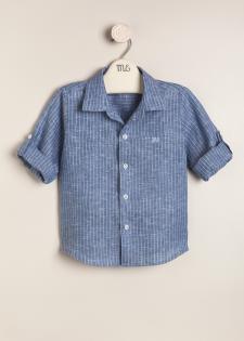 Camisa de lino rayada bl/az