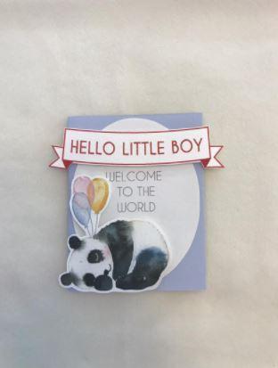 Tarjeta hello little boy panda