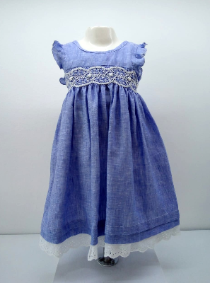 Vestido luciana smock lino azul